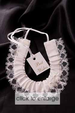 White satin Horse Shoe with tag