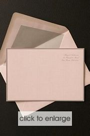 CARD - Pink with grey border Wedding Invitation