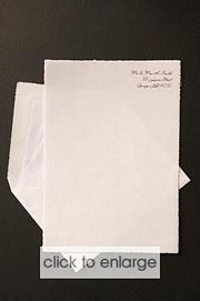 PAPER - White with deckled edge Wedding Invitation